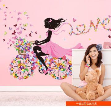 Bicikliző kislány falmatrica készletről