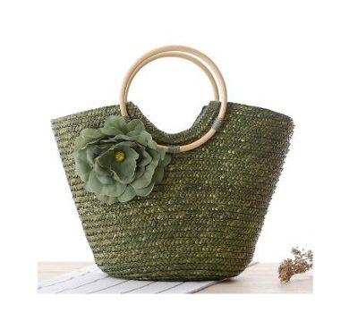 Női zöld szalma táska körfogantyúval
