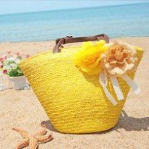 Sárga színű, Női szalma strandtáska készletről