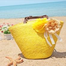Sárga színű, Női szalma strandtáska