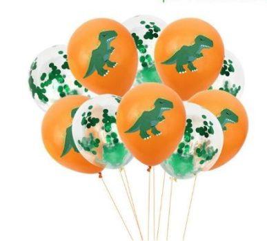 Narancs színű dinós dekorációs lufi szett 10 db-os készletről