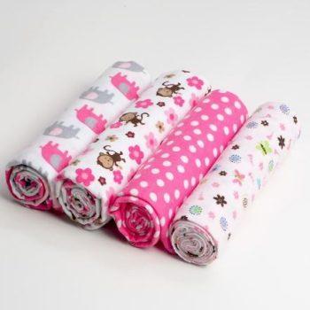 Flanel 4db-os pelenkák- rózsaszín-fehér majmos készletről