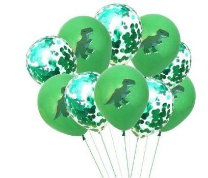 Zöld Dinós Dekorációs Lufi szett 10 db-os készletről