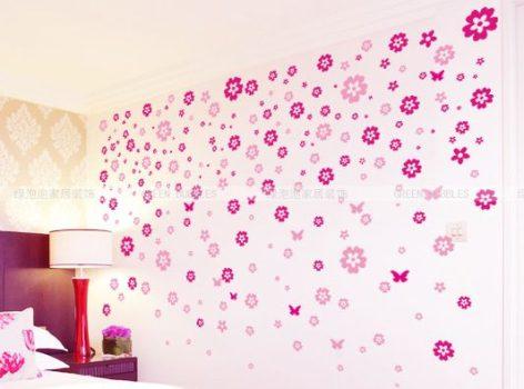 Rózsaszín virágos fali matrica Készletről