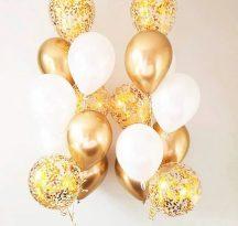 Dekorációs lufi arany-fehér 18 db-os Készleten