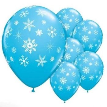 Jégvarázsos hópehely mintás lufi szett 12 db-os készletről
