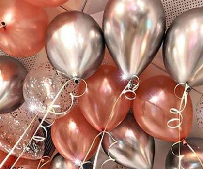 Dekorációs lufi ezüst metál-rose gold 18 db-os készletről