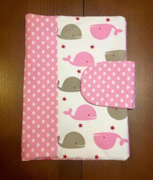 Pelenkázó neszeszer, pelenkázó táska- Rózsaszín bálnás