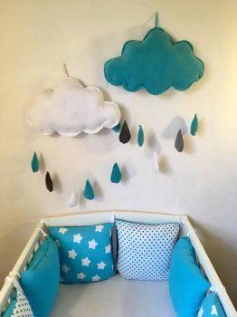 Kék-Fehér felhőcske dekoráció gyerekszobába 2 db-os szett
