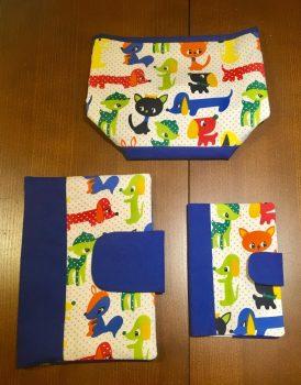 Kék állatos pelusozó+ eü.kiskönyvboritó+ asztali tároló