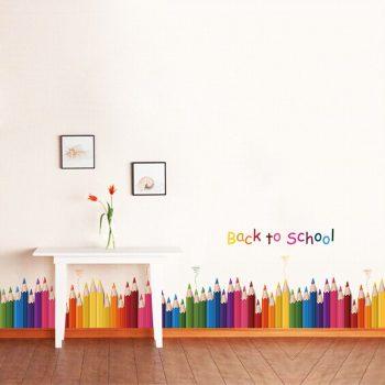 Vidám színes ceruzás falmatrica Készleten