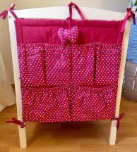 Pink Pöttyös zsebes tároló kiságyra
