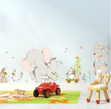 Elefánt-szarvas falmatrica Készletről