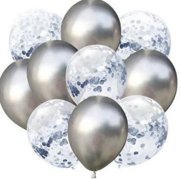 Ezüst konfettis Dekorációs lufik 10 db-os Készleten