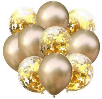 Arany konfettis Dekorációs lufik 10 db-os készletről