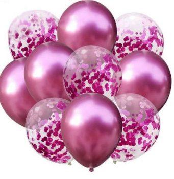 Pink konfettis Dekorációs lufik 10 db-os