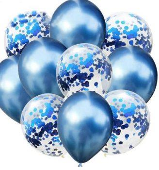 Kék konfettis Dekorációs lufik 10 db-os