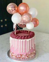 Torta dekoráció- mini lufi - rose gold készletről