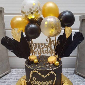 Torta dekoráció- mini lufi - fekete-arany készlet készletről