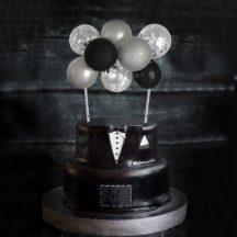 Torta dekoráció- mini lufi - fekete-ezüst készlet készletről